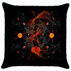Fractal Wallpaper With Dancing Planets On Black Background Throw Pillow Case (black)