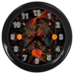 Fractal Wallpaper With Dancing Planets On Black Background Wall Clocks (black) by Nexatart