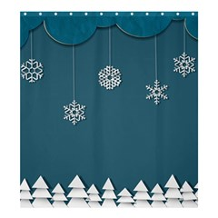 Blue Snowflakes Christmas Trees Shower Curtain 66  X 72  (large)  by Mariart