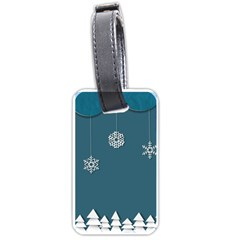 Blue Snowflakes Christmas Trees Luggage Tags (one Side)  by Mariart