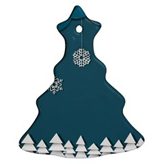 Blue Snowflakes Christmas Trees Christmas Tree Ornament (two Sides) by Mariart