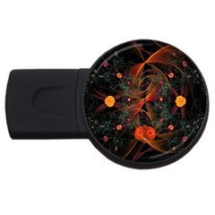 Fractal Wallpaper With Dancing Planets On Black Background Usb Flash Drive Round (4 Gb)