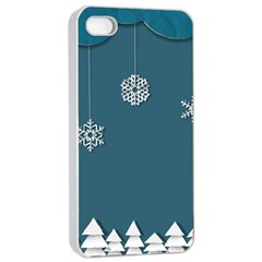 Blue Snowflakes Christmas Trees Apple Iphone 4/4s Seamless Case (white) by Mariart