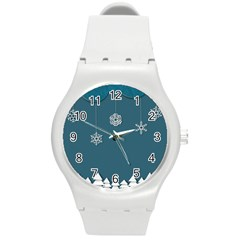Blue Snowflakes Christmas Trees Round Plastic Sport Watch (m) by Mariart