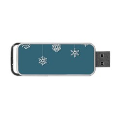 Blue Snowflakes Christmas Trees Portable Usb Flash (two Sides) by Mariart