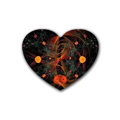 Fractal Wallpaper With Dancing Planets On Black Background Heart Coaster (4 Pack)  by Nexatart
