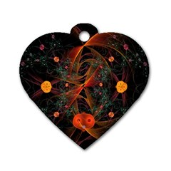Fractal Wallpaper With Dancing Planets On Black Background Dog Tag Heart (two Sides) by Nexatart