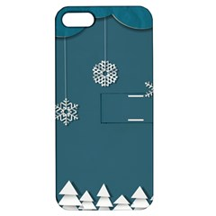 Blue Snowflakes Christmas Trees Apple Iphone 5 Hardshell Case With Stand by Mariart