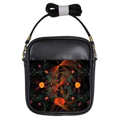 Fractal Wallpaper With Dancing Planets On Black Background Girls Sling Bags by Nexatart