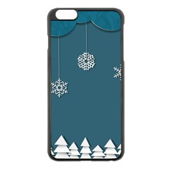 Blue Snowflakes Christmas Trees Apple Iphone 6 Plus/6s Plus Black Enamel Case by Mariart