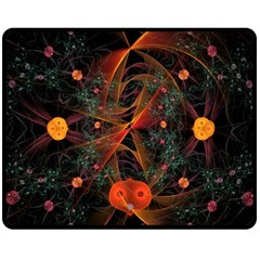 Fractal Wallpaper With Dancing Planets On Black Background Double Sided Fleece Blanket (medium)