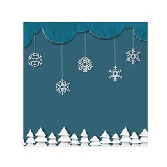 Blue Snowflakes Christmas Trees Small Satin Scarf (square) by Mariart
