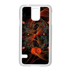 Fractal Wallpaper With Dancing Planets On Black Background Samsung Galaxy S5 Case (white) by Nexatart