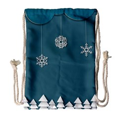 Blue Snowflakes Christmas Trees Drawstring Bag (large) by Mariart