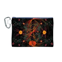 Fractal Wallpaper With Dancing Planets On Black Background Canvas Cosmetic Bag (m) by Nexatart