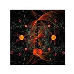 Fractal Wallpaper With Dancing Planets On Black Background Small Satin Scarf (square) by Nexatart