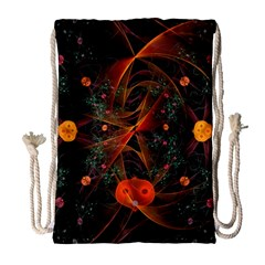 Fractal Wallpaper With Dancing Planets On Black Background Drawstring Bag (large) by Nexatart
