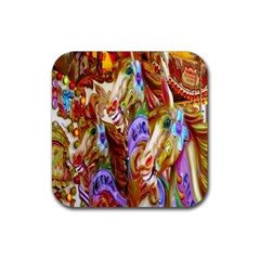 3 Carousel Ride Horses Rubber Square Coaster (4 Pack)  by Nexatart