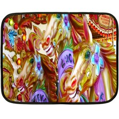 3 Carousel Ride Horses Double Sided Fleece Blanket (mini)