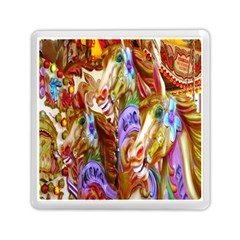 3 Carousel Ride Horses Memory Card Reader (square)  by Nexatart