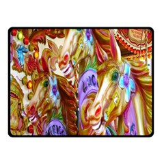 3 Carousel Ride Horses Double Sided Fleece Blanket (small)