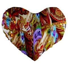 3 Carousel Ride Horses Large 19  Premium Flano Heart Shape Cushions