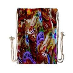 3 Carousel Ride Horses Drawstring Bag (small) by Nexatart