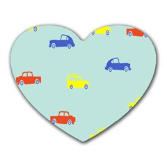 Car Yellow Blue Orange Heart Mousepads by Mariart
