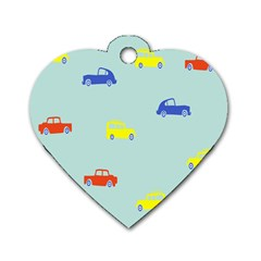 Car Yellow Blue Orange Dog Tag Heart (one Side) by Mariart