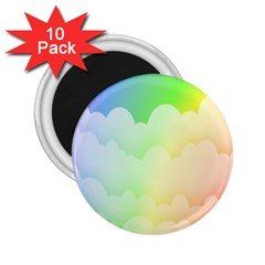 Cloud Blue Sky Rainbow Pink Yellow Green Red White Wave 2 25  Magnets (10 Pack)  by Mariart