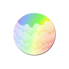 Cloud Blue Sky Rainbow Pink Yellow Green Red White Wave Magnet 3  (round) by Mariart