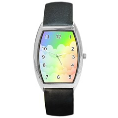 Cloud Blue Sky Rainbow Pink Yellow Green Red White Wave Barrel Style Metal Watch by Mariart