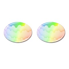Cloud Blue Sky Rainbow Pink Yellow Green Red White Wave Cufflinks (oval) by Mariart
