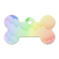 Cloud Blue Sky Rainbow Pink Yellow Green Red White Wave Dog Tag Bone (one Side) by Mariart