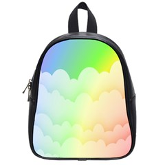 Cloud Blue Sky Rainbow Pink Yellow Green Red White Wave School Bags (small)  by Mariart
