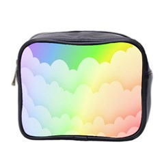 Cloud Blue Sky Rainbow Pink Yellow Green Red White Wave Mini Toiletries Bag 2 Side by Mariart