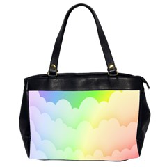 Cloud Blue Sky Rainbow Pink Yellow Green Red White Wave Office Handbags (2 Sides)  by Mariart
