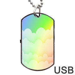 Cloud Blue Sky Rainbow Pink Yellow Green Red White Wave Dog Tag USB Flash (Two Sides) by Mariart