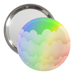 Cloud Blue Sky Rainbow Pink Yellow Green Red White Wave 3  Handbag Mirrors by Mariart