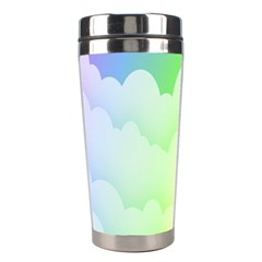 Cloud Blue Sky Rainbow Pink Yellow Green Red White Wave Stainless Steel Travel Tumblers by Mariart