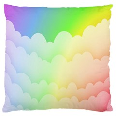 Cloud Blue Sky Rainbow Pink Yellow Green Red White Wave Standard Flano Cushion Case (one Side) by Mariart