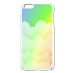 Cloud Blue Sky Rainbow Pink Yellow Green Red White Wave Apple Iphone 6 Plus/6s Plus Enamel White Case by Mariart