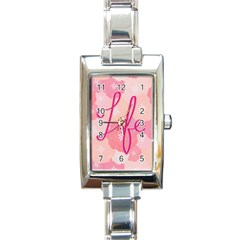 Life Typogrphic Rectangle Italian Charm Watch by Nexatart