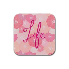 Life Typogrphic Rubber Square Coaster (4 Pack)  by Nexatart