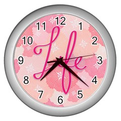 Life Typogrphic Wall Clocks (silver)  by Nexatart