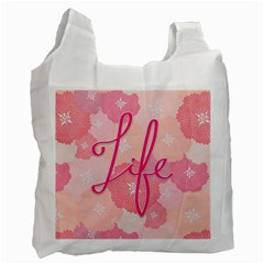 Life Typogrphic Recycle Bag (one Side) by Nexatart