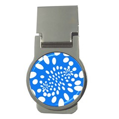 Circles Polka Dot Blue White Money Clips (round)  by Mariart