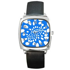 Circles Polka Dot Blue White Square Metal Watch by Mariart