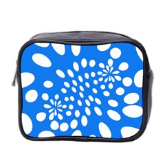 Circles Polka Dot Blue White Mini Toiletries Bag 2 Side by Mariart