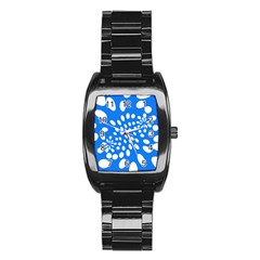 Circles Polka Dot Blue White Stainless Steel Barrel Watch by Mariart